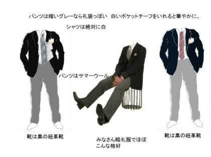 黒ジャケがあるのなら、白シャツにシルバーグレーのタイ。明るいグレーのウールパンツ。黒い靴紺ジャケでもほぼ同様。