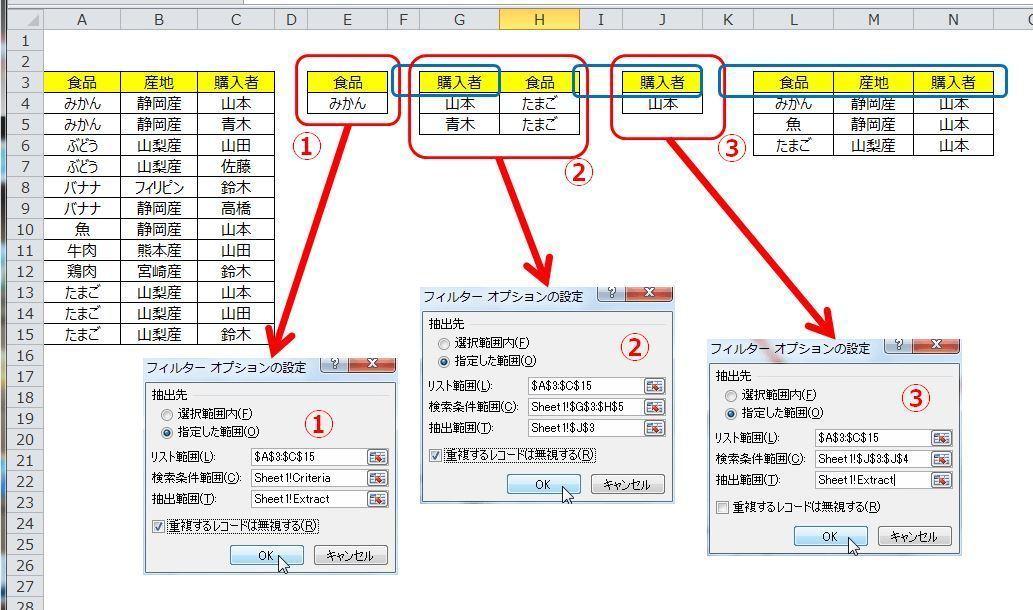 エクセル 関数 複数条件